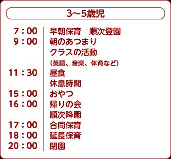 アワーキッズ南藤沢 日課3〜5歳児